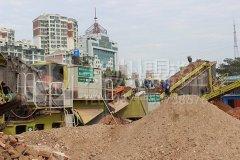山东时产250吨履带移动建筑垃圾处理系统