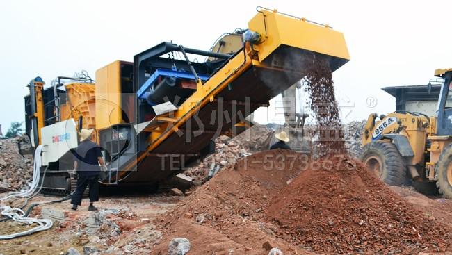 郑州鼎盛履带式建筑垃圾移动破碎站使用现场